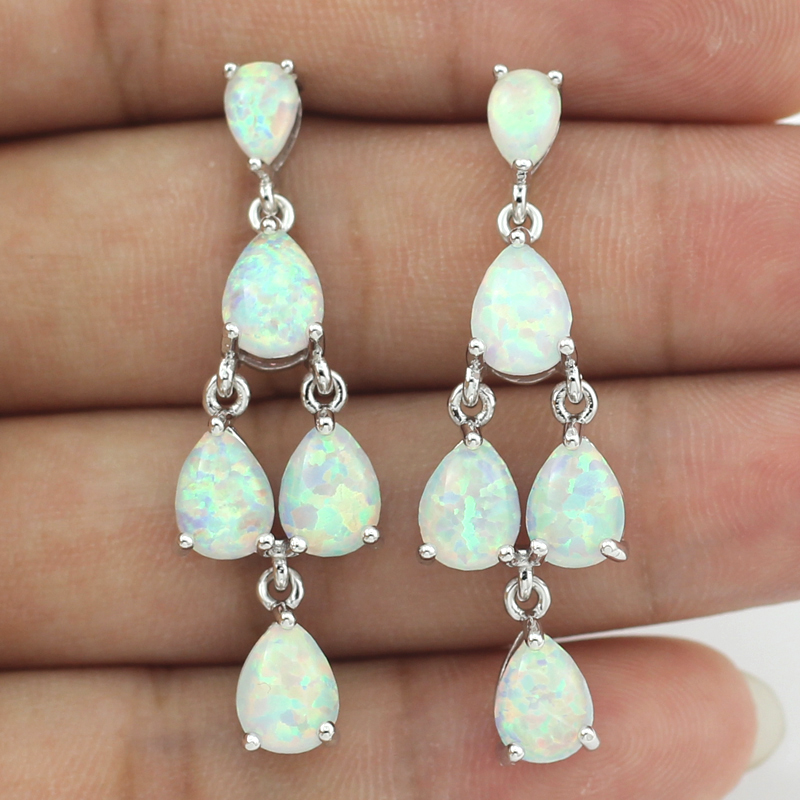 OPAL New Arrival Synthetic White Blue Orange Fire Opal Stones Long Stud Earrings For Lady's Gift OE210-212