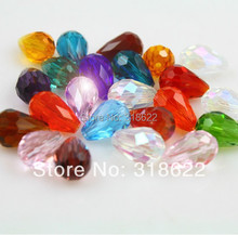 2015 Hot 8x11mm Clear Mixed color Tear Drop Cut Faceted Crystal Glass Beads Spacer Loose Beads 100pcs/lot