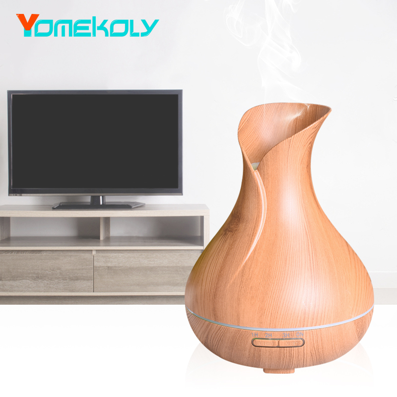 Air Humidifier Ultrasonic With Wood Grain Essential Oil Diffuser Aroma Lamp Aromatherapy Electric Aroma Diffuser Mist Maker New