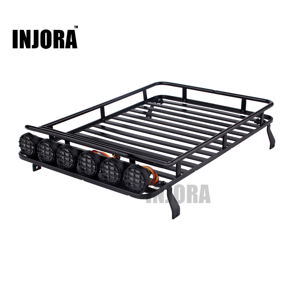 INJORA Roof Rack Luggage Carrier with Light Bar for 1/10 RC Crawler RC4WD D90 Axial SCX10 90046
