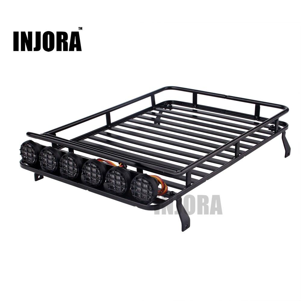 INJORA techo portaequipajes con barra de luz para 1/10 RC Crawler D90 Axial SCX10 90046