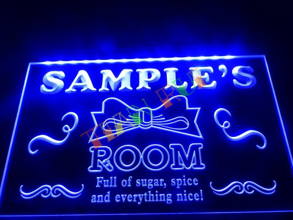 DZ006 Name Personalized Custom Girl Princess Room Bar Neon