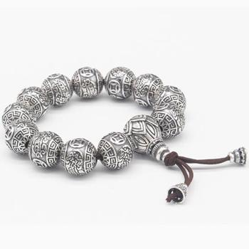 Handmade 100% 990 Silver Fengshui Wealth Pixiu Animals Beads Bracelet Pure Silver Good Luck Bracelet Tibetan Wrist Mala Bracelet