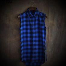 Shirts Sleeve Irregular Plaid Male Medium-Style XL Lovers' Slim High-End Tops Curved-Slit