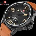 Мужчины спортивные часы мужчины кварцевые часы мода кожаный ремешок наручные часы NAVIFORCE brand календарь 30 М водонепроницаемый relogio masculino