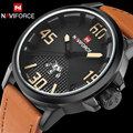 Homens relógio do esporte dos homens relógio de quartzo moda pulseira de couro relógios de pulso marca naviforce hot calendário 30 m waterproof relogio masculino