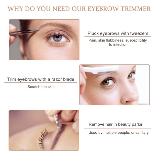 Eyebrow Hair Remover for Women, Eyebrows Hair Removal Electric Trimmer Razor Battery Operated for Smooth Finishing and Painless 2