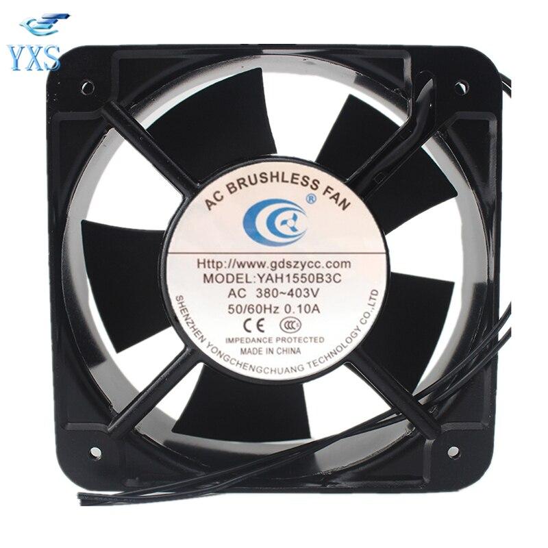 YAH1550B3C AC 380 V-403 V 0.1A 50/60HZ 15050 15CM 150*150*50mm 2 fils AC sans brosse Double roulement à billes ventilateur de refroidissement