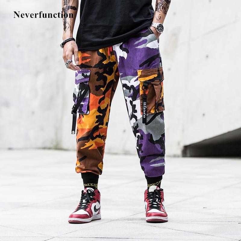 Dropshipping New Camouflage Patchwork Men Cargo Harem Pant Multi-pocket Harajuku Hip Hip Male Camo Jogger Sweatpants Trousers