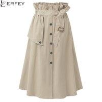LERFEY Elegancki Wysoka Talia Spódnice Kobiety Jesień Biuro Midi Spódnica Casual Przycisk Khaki Spódnica z Paskiem