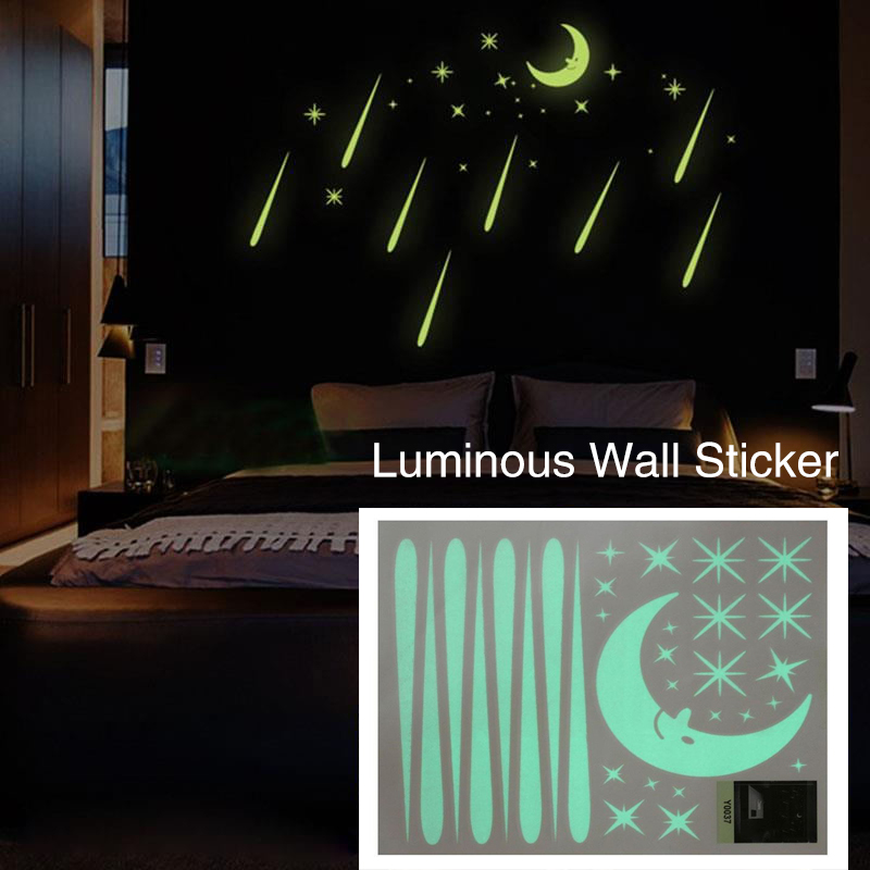 Meteor Shower Luminous Light Moon&Star Wall Stickers Bedroom Home Decor
