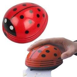 Portátil mini aspirador de pó bonito besouro joaninha dos desenhos animados mini mesa aspirador de pó coletor para escritório em casa