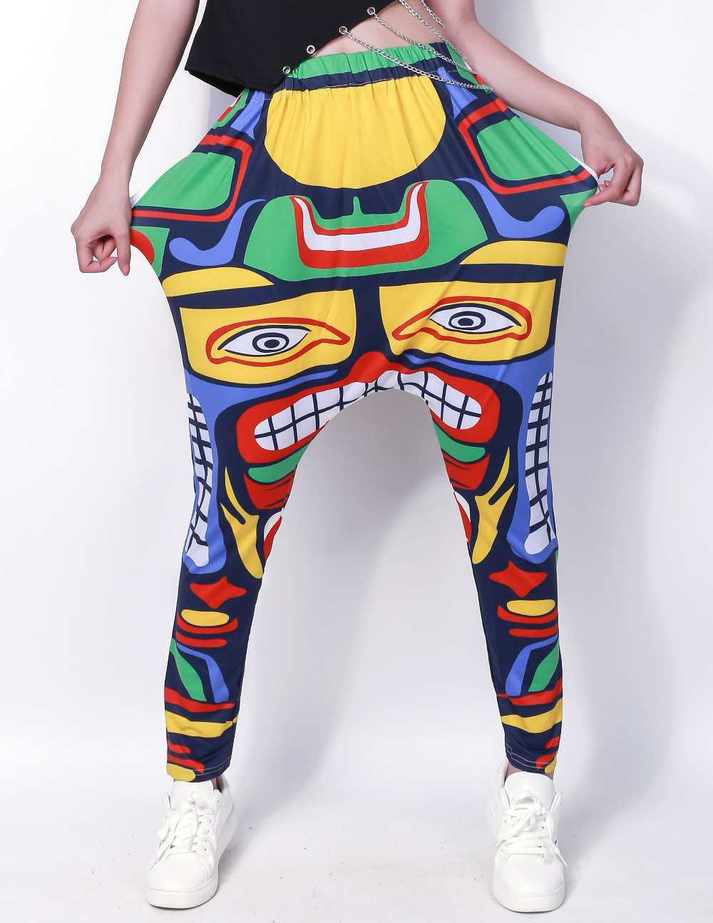 Adult Kids Multi colour Symmetry Sweatpants Cinco de Mayo Costumes Panelled Jamaica Totem performance harem Hip Hop Dance pants