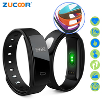ZUCOOR Smart Bracelet Fitness Band Heart Rate Bracelets QS80 Pulse Blood Pressure Watch Pedometer Pulsera Inteligente