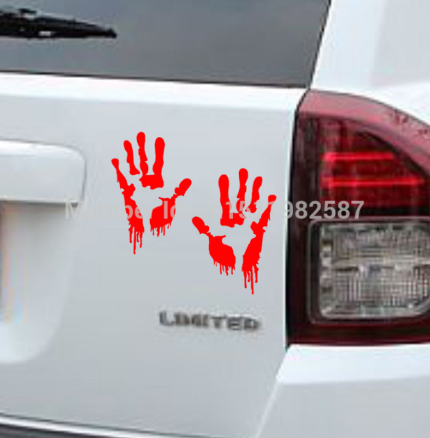 Bloody Zombie Hand Print Sticker For Cars & Wall
