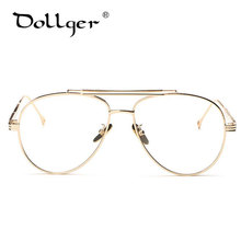 Dollger gold silver Pilot Eyewear Frames Men Brand Big Glasses Frame Myopia Optical Eye Glasses Male Clear Lens Eyeglasses s1297