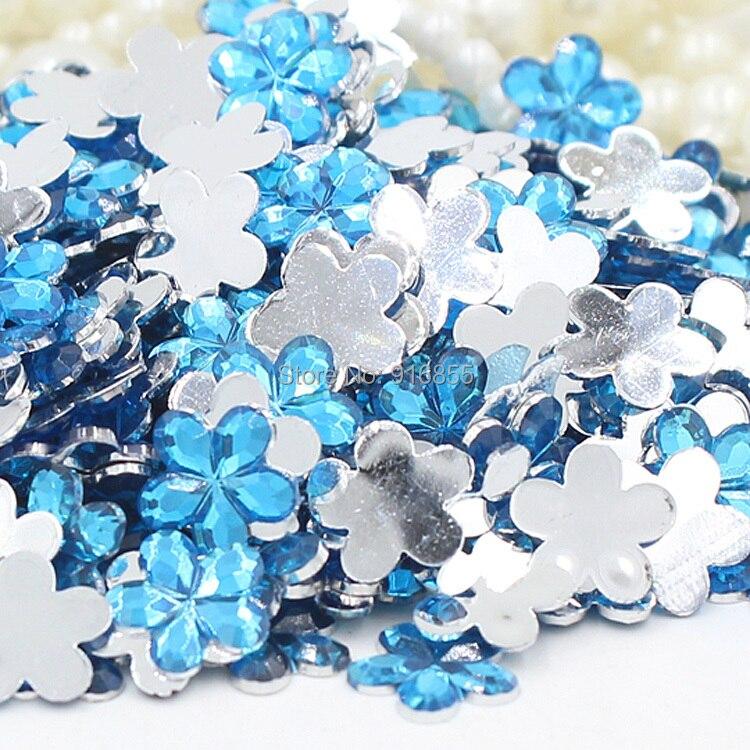 Бесплатная доставка 200 шт./пакет 10 мм цвет небесно-синий цветочный дизайн акрил горный хрусталь плоской задней ногтей Книги по искусству Стразы для DIY