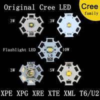 Original CREE XPE 2 XRE Q5 XTE XPG 2 T6 L2 XHP50 XHP70 caliente blanco, rojo, azul, verde base AL para lámpara de luz LED