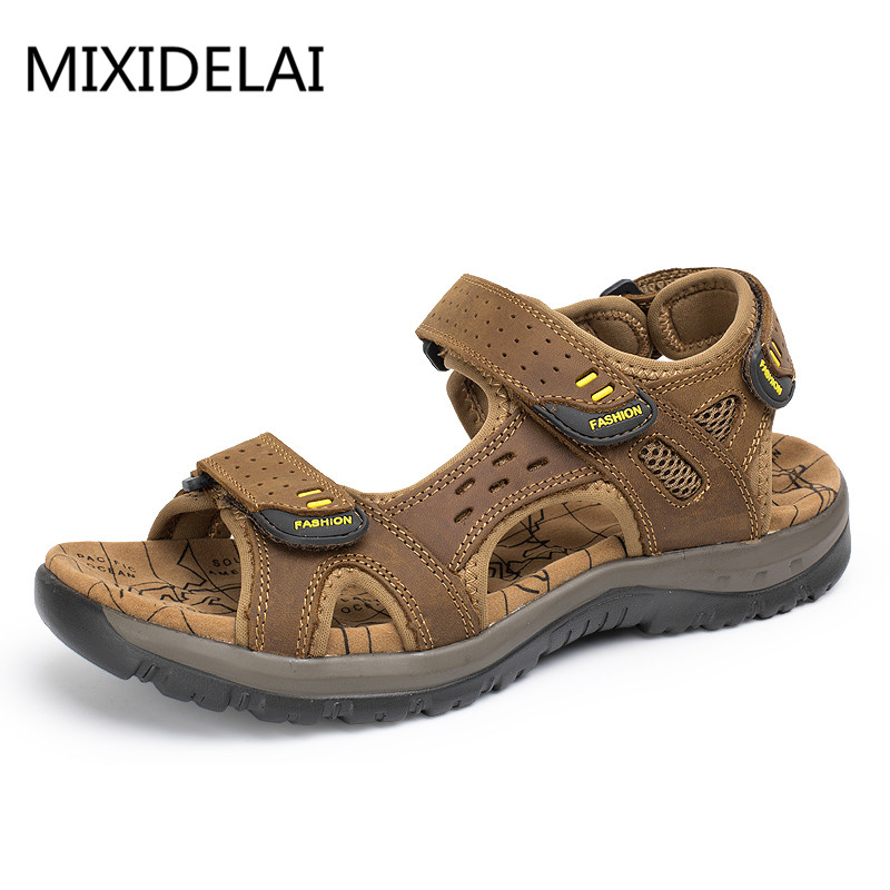 все цены на MIXIDELAI 2018 New Fashion Summer Leisure Beach Men Shoes High Quality Leather Sandals The Big Yards Men's Sandals Size 38-45 онлайн