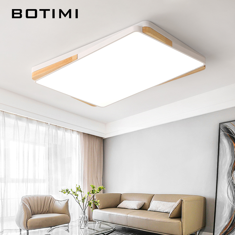 BOTIMI Square LED Ceiling Lights For Living Room White Lamparas de techo Rectangle Wood Ceiling Lamp Surface Mount Bedroom LightBOTIMI Square LED Ceiling Lights For Living Room White Lamparas de techo Rectangle Wood Ceiling Lamp Surface Mount Bedroom Light
