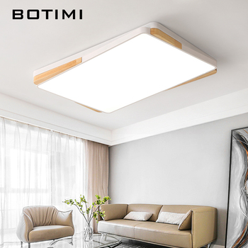 BOTIMI Square LED Ceiling Lights For Living Room White Lamparas de techo Rectangle Wood Ceiling Lamp Surface Mount Bedroom Light