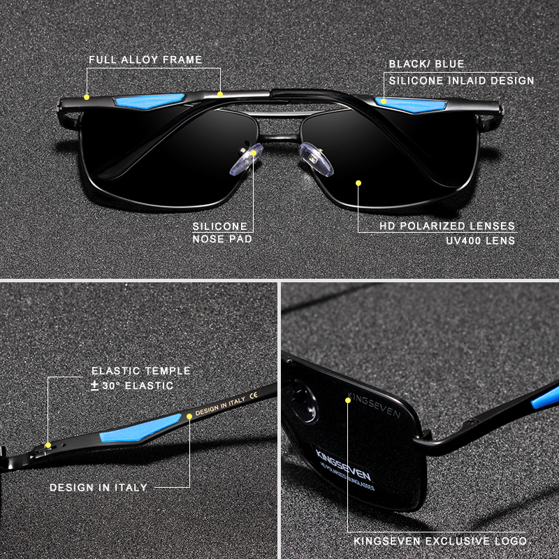 KINGSEVEN 2020 Brand Classic Square Polarized Sunglasses Men's Driving Male Sun Glasses Eyewear UV Blocking OculosN7906 2