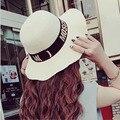 2016 Купол Алфавит Волны Брим Соломенная Шляпка Широкими Полями Пляж вс Hat Женщины Горячего тиснения буквы Европейский Summer Sun Флоппи шляпа