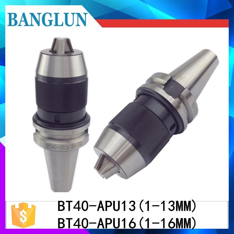 BT40 APU16 Range:1-16mm Integrated keyless self tight Drill chuck for milling lathe BT40 APU13 Range:1-13mm precision tail stock mt4 apu13 keyless drill chuck holder 13mm milling and lathe