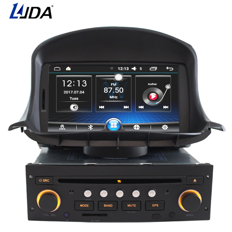 LJDA 1 din 7 Inch Android 6.0 Car DVD Player For Peugeot 206 206CC Auto Radio Audio Bluetooth Canbus GPS Navigation Quad Cores