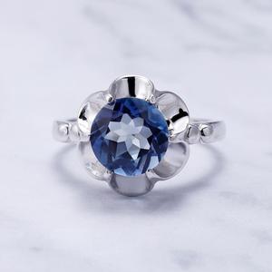 Image 4 - Gems Ballet 2.74Ct Natuurlijke Ioliet Blue Mystic Quartz Bloem Ring 925 Sterling Zilveren Verlovingsring Voor Vrouwen Fijne Sieraden