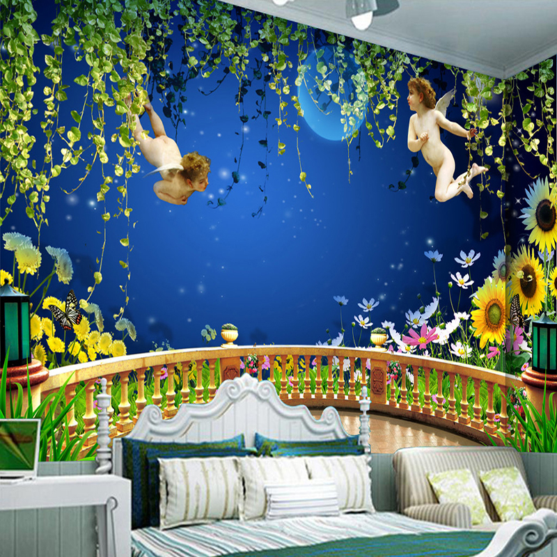 Custom Photo Wall Paper Angel To Send Blessing 3D Stereo Balcony Space Background Wall Mural Children Room Bedroom Wallpaper-3D  free shipping 3d stereo angel rome column fantasy wallpaper mural custom dining room children room background wallpaper