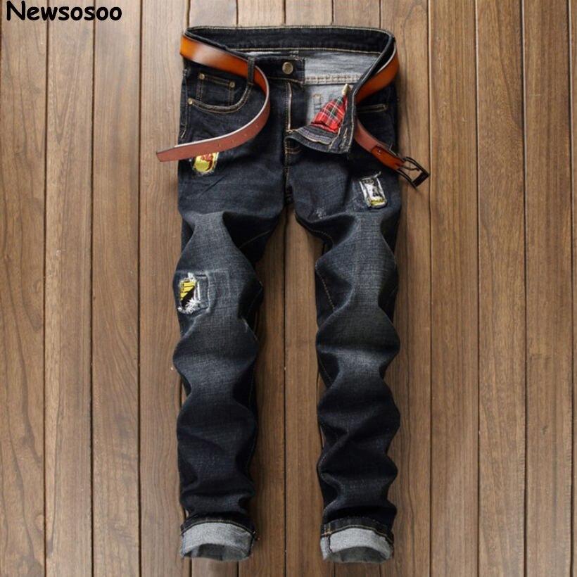 2017 fashion brand men's jeans pop luxury designer hole straight denim trousers casual classic slim ripped balck jeans for men