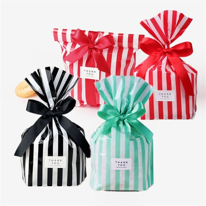 10Pcs/lot Cute Stripe Candy Bag Plastic Gift Bags For Cookie Biscuits Snack Baking Packaging Bag Wedding Birthday Party Supplies