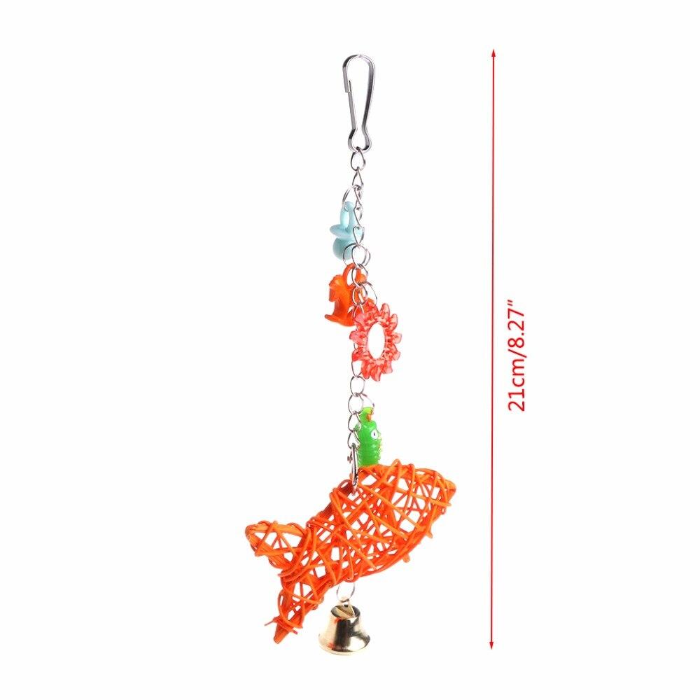 Птица Попугай клетке висит Игрушечные лошадки рыбы из ротанга Форма звонкое игрушка с колокольчиком