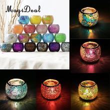 MagiDeal Ассорти Марокканская мозаика стеклянный подсвечник чайный светильник канделябр домашний декоративный подсвечник