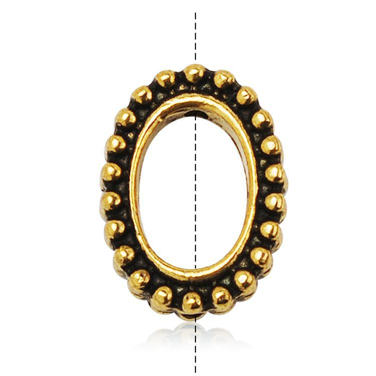 High Quality Oval Granulated Bead Frames, 20pcsper Pack Gold Plating Jewelry Components
