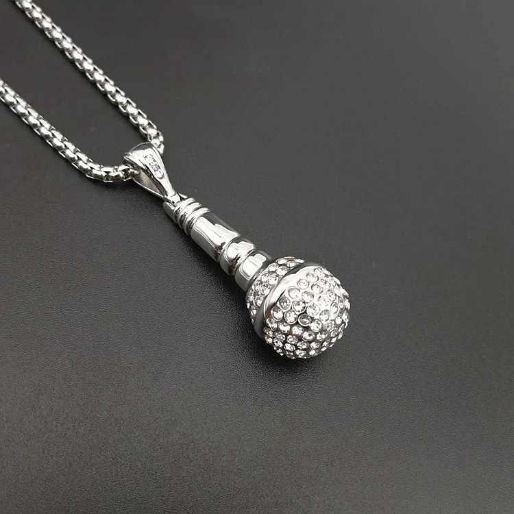Хип хоп 316L из нержавеющей стали серебряный цвет ледяная цепь ожерелье кулон «микрофон» для мужчин/женщин горный хрусталь лучший друг ювелирные изделия
