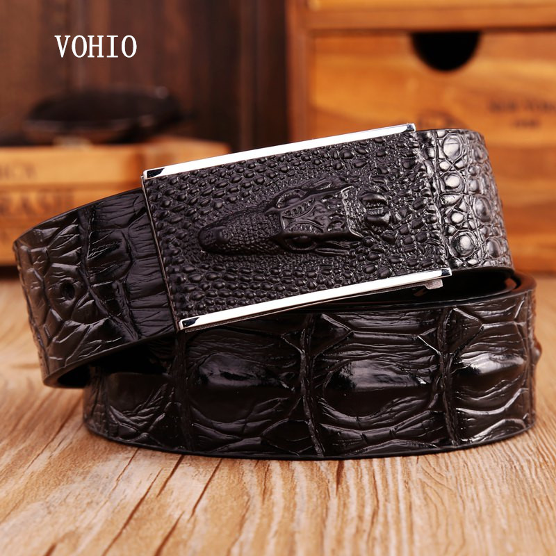 VOHIO Fashionable alligator belt High quality leather smooth buckle perforated belt han edition recreational mens cowboy