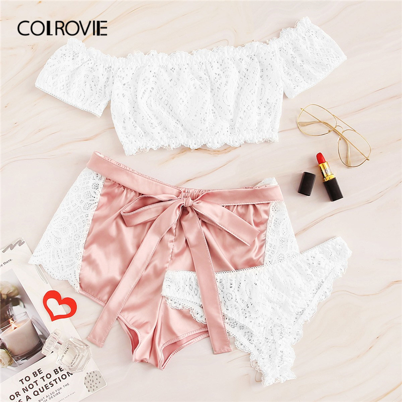 COLROVIE Floral Lace Bardot Lingerie   Set   With Satin Shorts 3pack Sexy   Pajama     Set   Women 2019 Summer Sleepwear Female Nightgown