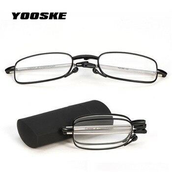 5ce7477973 YOOSKE completo de marco de Metal plegable gafas de lectura de los hombres  las mujeres portátiles miopía gafas pequeño pliegue gafas 1,5, 2,0, 2,5,  3,0, ...