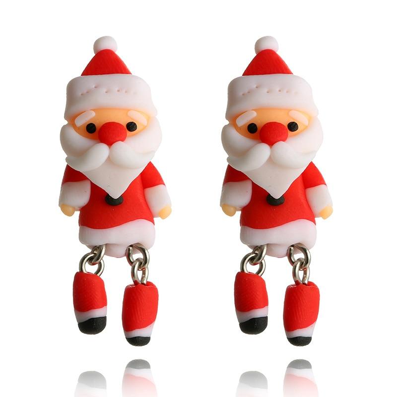 Polymer Clay Christmas Jewelry.Docona Cute Red Santa Claus Stud Earrings For Women Cartoon