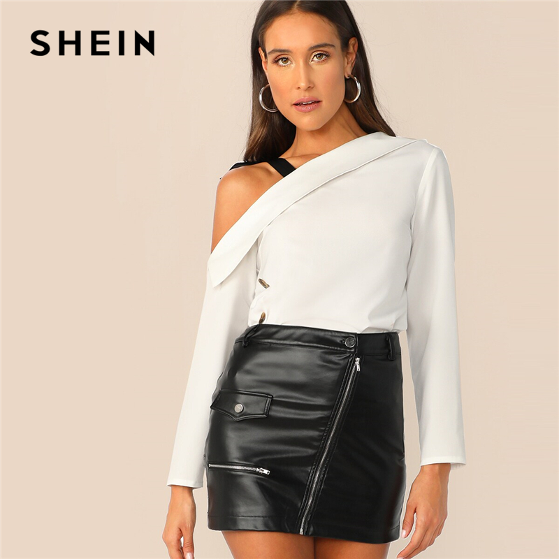 SHEIN Asymmetrical Neck Foldover Front Top With Tie Shoulder Women Chic White Solid Spring Elegant Autumn Tops And Blouses