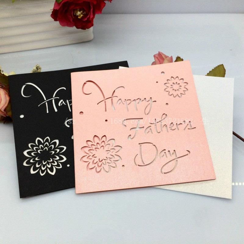 15 9 20 De Descuento 50 Piezas Láser Corte Hueco Feliz Día Del Padre Postales Gracias Bendición De Cumpleaños Tarjetas De Felicitación Invitaciones