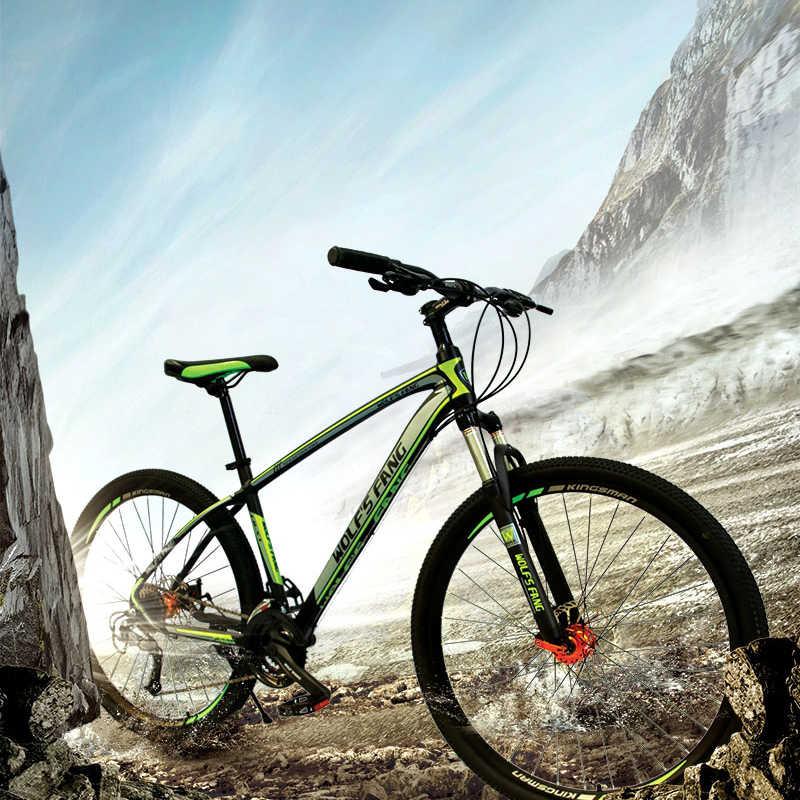 Wolf Fang Sepeda Gunung Sepeda 29 Sepeda 27 Kecepatan Aluminium Paduan Bingkai Ukuran 17 Inch BMX Cakram Mekanis rem Sepeda