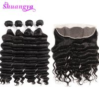 Shuangya Loose Deep Wave Bundles With Frontal Brazilian Human Hair Bundles With Lace Frontal Closure Remy Hair Extensions