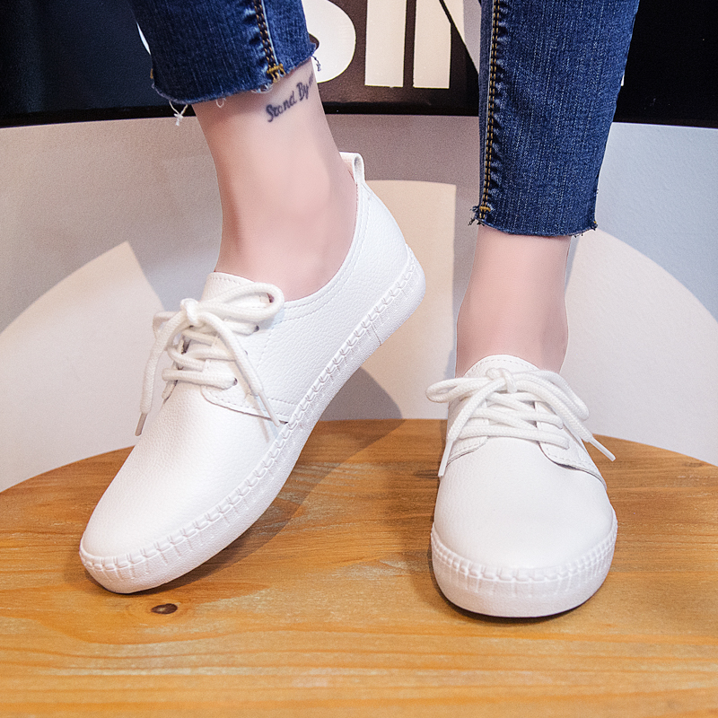 2018 Summer New Fashion Women Shoes Casual Flats PU Leather Soft Solid Color Simple Women Casual White Shoes Sneakers цены онлайн
