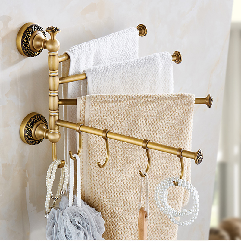 Free Shipping Wall Mounted Towel Bar Rotate Bath Towel Holder With Hooks Antique Brass Finish