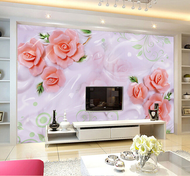 Custom 3D Wallpaper, embossed rose murals for the living room bedroom TV background wall vinyl papel de parede купить