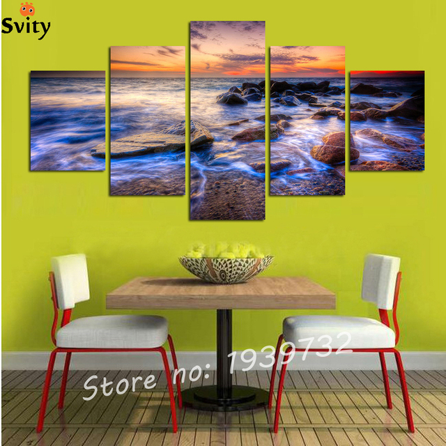 2016 Hot Sales Without Frame 5 Panels Beauty Landscape Pcturey HD ...
