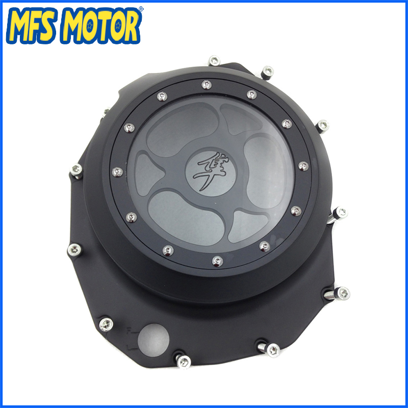 Freeshipping Motorcycle See through Engine Clutch Cover For Suzuki GSX1300R Hayabusa 1999-2013 B-king 2008-2009 Black aftermarket free shipping motorcycle accessories blue led see through engine clutch cover for suzuki gsx1300r hayabusa b king